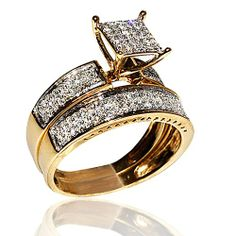 1ct Diamond Yellow Gold Trio Wedding Set Princess Cut Style Pave His And Her Jewelry
