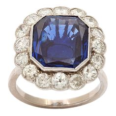 Art Deco platinum ring set with a Natural Burmese Sapphire, enhanced by old european cut diamonds