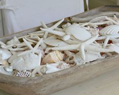 Seashell display in an old wooden bowl..love it!