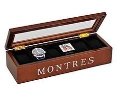 Boîte à montres bois, marron - L34