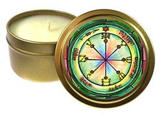 Solomons 6th Seal of Mars for All-encompassing Protection 6 Oz Scented Soy Gold Tin Candle