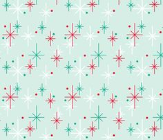 Nifty Stars fabric by jwitting on Spoonflower - custom fabric Christmas Fabric, Retro Christmas, Christmas Art, Christmas Patterns, Christmas Minis, Christmas Nails, Star Wallpaper, Pattern Wallpaper, Retro Wallpaper