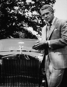 Steve McQueen and Rolls Royce - a very stylish combination...an icon of cool with a great automobile.