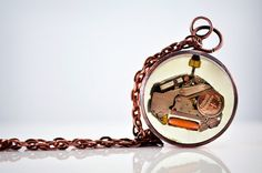 SALE Upcycled Steampunk pendant with gears and by UxorBoutique, $16.00