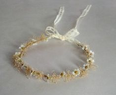 Shabby Chic Daisy hair Accessories babys breath headwreath Bridal dried Flower crown lace tie Wildflower flower girl halo mini daisies