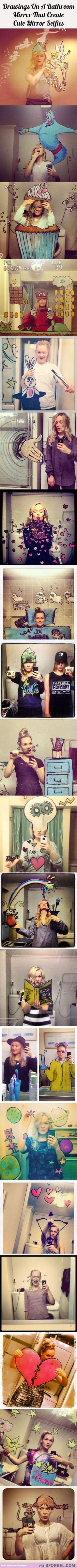 21 Drawings On A Bathroom Mirror That Create Cute Mirror Selfies…