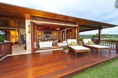 Beautiful Indonesian furniture in this Bali Style home in Hawaii.