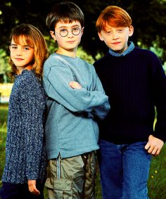 Daniel, Rupert, and Emma's first photo shoot together, 2000