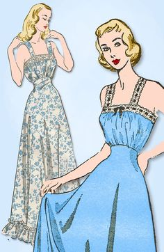1940s Vintage Advance Sewing Pattern 4919 Misses Swiss Beading Nightgown Sz 32 B  | eBay