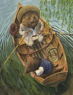 """Just messing about in boats. Mole and Ratty from """"Wind in the Willows"""". Illustration by Chris Dunn. Art And Illustration, Book Illustrations, Fantasy Kunst, Fantasy Art, Chris Dunn, Photo D Art, Beatrix Potter, Woodland Creatures, Oeuvre D'art"""