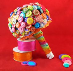 Rainbow Button Bouquet by BouquetsofWhimsy on Etsy https://www.etsy.com/listing/220309814/rainbow-button-bouquet