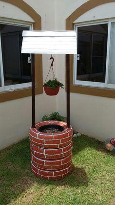 Pozo para jardin. De materiales reciclados.