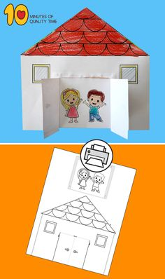 Paper House with Opening Doors - Printable House with Opening Doors - Arts And Crafts Storage, Easy Arts And Crafts, Hobbies And Crafts, Kindergarten Crafts, Preschool Crafts, Preschool Family Theme, Sand Crafts, Paper Crafts, Paper Paper