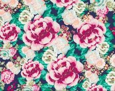 Feiner Popeline-Patchworkstoff Floressence mit großen Rosen, aubergine-grün-türkis