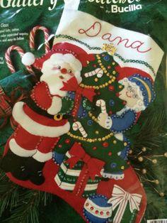 Bucilla Christmas Santa Mr Mrs Claus Stocking Felt Kit Jeweled | eBay