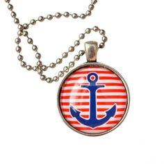 Anchor Pendant - Red Stripe with Navy Anchor. #necklaces #jewelry   9thelm.com