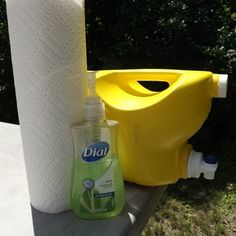 10 easy diy camping hacks from pinterest, crafts, outdoor living, Use a Washed Out Laundry Jug Filled with Water for a Hand Washing Station