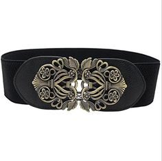 Nanxson(TM) Women's/ Girls' Vintage Style Elastic Wide Waist Band/ Belt with Decorative Buckle PDW0067 (black) - Brought to you by Avarsha.com