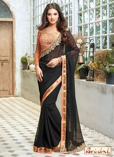 Buy indian saree online with the finest collection of indian saree. Order this observable georgette designer saree for festival and party Party Wear Sarees Online, Party Sarees, Latest Designer Sarees, Latest Sarees, Beautiful Saree, Beautiful Indian Actress, Bridle Dress, Sarees Online India, Western Wear For Women