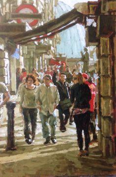 Tony Karpinsky ' Baker Street Tube Station ' oil painting London