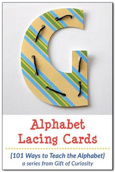 Alphabet Lacing Cards: Children will enjoy lacing these free printable uppercase and lowercase letters. Letter lacing develops fine motor skills and letter recognition at the same time. Great for toddlers and preschoolers! || Gift of Curiosity