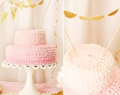 Pink Ombre Ruffle Cake - #cake #firstbirthday #ombre
