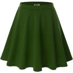 Doublju Women Plus-size Versatile Strechy Flared Skater Skirt ($7) ❤ liked on Polyvore featuring skirts, flared hem skirt, plus size knee length skirts, flared skirt, skater skirt and plus size skater skirt