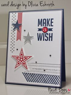 Stuck on Stampin': fourth of july birthday card by Olivia Eckroth: Simply Stars, Perfect Pennants, Gorgeous Grunge Homemade Birthday Cards, Birthday Cards For Men, Homemade Cards, Military Cards, Masculine Birthday Cards, Masculine Cards, July Birthday, Birthday Ideas, Washi Tape Cards