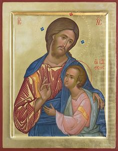 This icon of Jesus Christ and St John the Theologian is painted with tempera paints, decorated with gold leaf and chiseling on gesso. Religious Images, Religious Icons, Religious Art, Christ Pantocrator, Paint Icon, Orthodox Icons, Western Art, Jesus Christ, Christianity