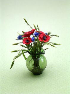 Poppy Flower Kit for 1/12th scale by TheMiniatureGarden on Etsy