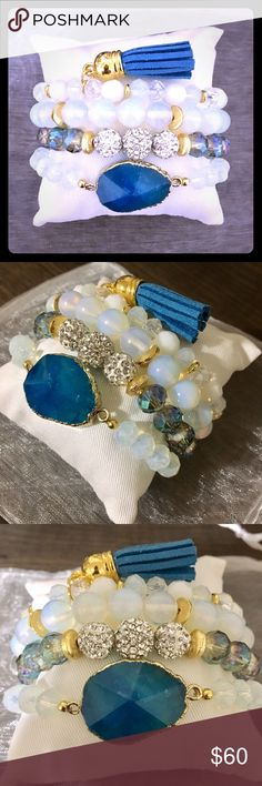 Sapphire Agate Stone Bracelet Set * GORGEOUSLY handcrafted 4 Pc set * Sapphire colored agate stone bracelet  * 2 beaded stacking bracelets * 1 beaded bracelet with tassel  * All stretch for adjusted fit * Display pillow included * White organza bag for gift option  * A MUST HAVE!! Jewelry Bracelets