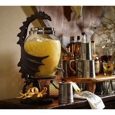 Pottery Barn Dragon Drink Dispenser Stand ($119) ❤ liked on Polyvore