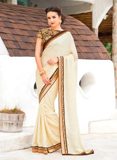 Lively Chiffon Satin Cream Designer Saree