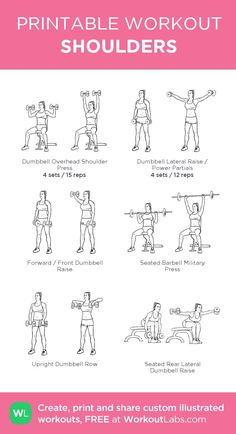 : my visual workout created at Shoulder Workout Women, Back And Shoulder Workout, Shoulder Work Out, Shoulder Dumbbell Workout, Shoulder Routine, Workout Schedule, Gym Workouts, At Home Workouts, Swimming Workouts