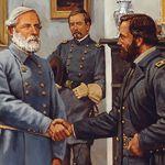 Lee and  Grant shake hands in the parlor of the McLean House (painting by Keith Rocco). This is the town where Lee surrendered  (April 9, 1865). This is a great place to take your kids when studying The Civil War. From Richmond it is quite a drive, but it is a beautiful park. Pack a picnic lunch and make a family memory! BTW, they ask of May 2013 they were still taking CASH ONLY as the entrance fee.