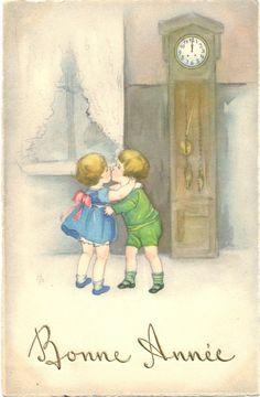 LE Nouvel AN Enfants Embrasser SE Montre Sign Hannes Petersen Pour 1930 | eBay