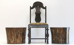 Tree Stump Night Stand Ebony Washed End Table by realwoodworks1