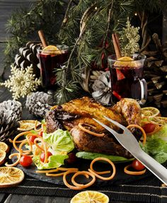 Roast chicken for Christmas and New Year with mulled wine and Christmas decorations, selective focus Roast Chicken, Baked Chicken, Mulled Wine, Paella, Christmas Decorations, Baking, Ethnic Recipes, Food, Bakken
