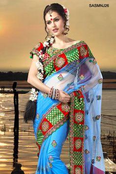 $162 Attractive Blue Net Saree From Cbazaar