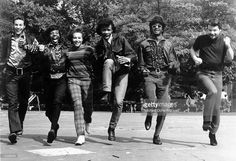 Psychedelic soul group 'Sly & The Family Stone' run toward the camera for a portrait in 1968. (L-R) Gregg Errico, Freddie Stone, Cynthia Robinson, Sly Stone, Larry Graham, Jerry Martini.