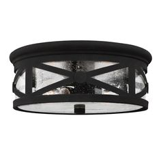 Sea Gull Lighting 7821402-12 Lakeview 2 Light 13 inch Black Outdoor Flush Mount in Clear Seeded Glass