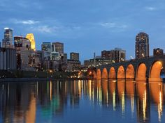 Your view of downtown Minneapolis from your luxury apartment on the Mississippi river.