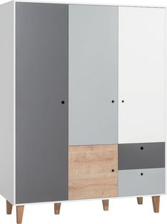 Moralez 3 Door Wardrobe Tall Cabinet Storage, Locker Storage, Colored Dining Chairs, Small Cupboard, Hanging Rail, Wardrobe Doors, Storage Spaces, Bedroom Furniture, Drawers