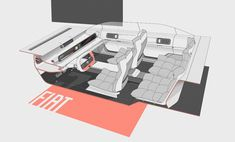 FIAT 130 on Behance Interior Rendering, Interior Sketch, Car Sketch, Automotive Design, Fiat, Sketches, Adobe Photoshop, Industrial Design, Product Design