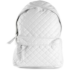 Stampd quilted backpack ($215) ❤ liked on Polyvore featuring bags, backpacks, backpack, accessories, fillers, white, leather knapsack, zip bags, quilted bag and leather bags