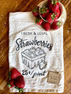 Kitchen Towels Fresh and Local Strawberries Kitchen Towel Strawberry Kitchen, Strawberry Tea, Strawberry Fields, Strawberry Patch, Farmhouse Ale, Farmhouse Kitchen Decor, Sisal Twine, Strawberry Decorations, Kitchen Models