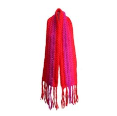 Schiaparelli Rare Handmade Shocking Pink and Tomato Red Muffler | From a collection of rare vintage scarves at https://www.1stdibs.com/fashion/accessories/scarves/