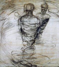 HOMBRES HURACANES  carbonilla sobre papel misionero 1,10 x 0,90 m. aprox.