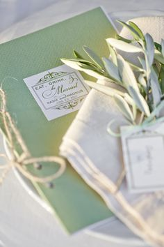 Wrap gifts in cream fabrics with twine and herbs.  Perfect for a wedding or shower gift