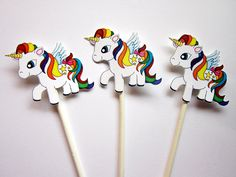 Unicorn Cupcake Toppers by CraftyCue on Etsy